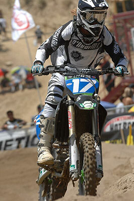 WMX racer Kristine Wright charges uphill
